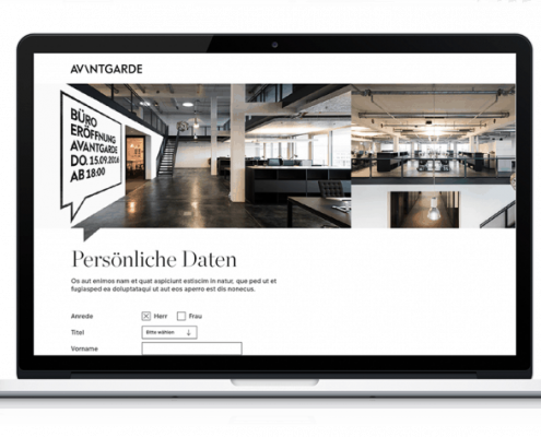 Avantgarde Guest Management Microsite Beispiel